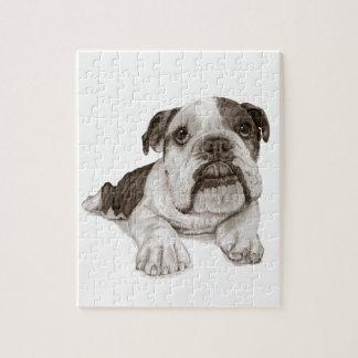 A Brindle Bulldog Puppy Jigsaw Puzzle