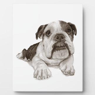 A Brindle Bulldog Puppy Photo Plaque