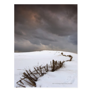 A Broken Fence Along A Snow Covered Field Postcard