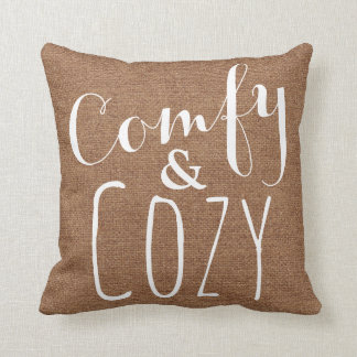 A Brown Faux Burlap Cozy Throw Pillow - Home Decor