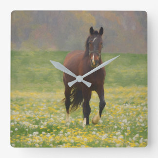 A Brown Horse in a Field with Dandelions Square Wall Clock