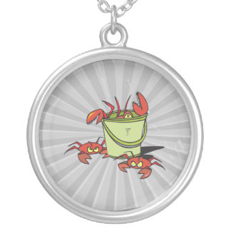 a bucket of angry crabs silver plated necklace