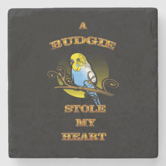 A Budgie Stole My Heart Stone Coaster