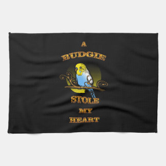 A Budgie Stole My Heart Tea Towel