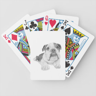 A Bulldog Puppy Drawing Bicycle Playing Cards