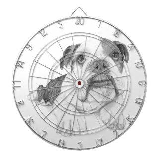 A Bulldog Puppy Drawing Dartboards