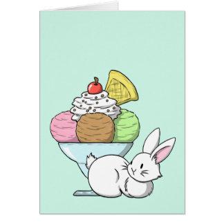 A bunny and an ice cream card