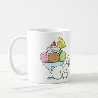 A bunny and an ice cream coffee mug
