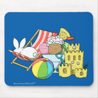 A bunny at the beach mouse pad