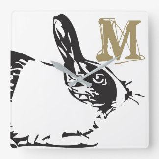 A Bunny Rabbit & A Monogram Square Wall Clock