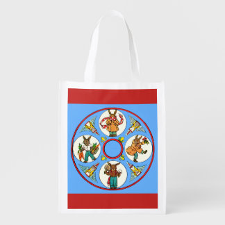 a bunny's four seasons print reusable grocery bag