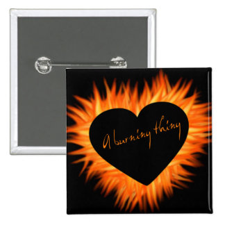 A Burning Thing Fire Heart 15 Cm Square Badge