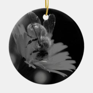 A Busy Bee B&W Round Ceramic Decoration