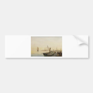 A busy harbour by Konstantinos Volanakis Bumper Sticker