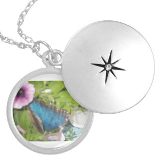 A Butterfly On A Plant Silver Plated Necklace