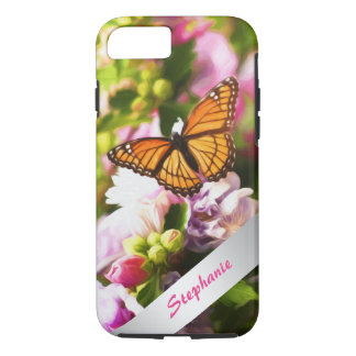 A Butterfly on Pink & Purple Flowers iPhone 8/7 Case