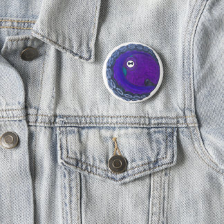 A button with a purple and blue octopus on it.