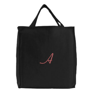 """A"" by: Opal01 Embroidered Tote Bag"