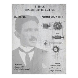 A/C ELECTRIC CURRENT DYNAMO PATENT of 1888 - TESLA Poster