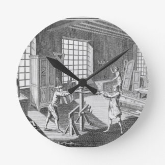 A cabinet maker's workshop, from the 'Encyclopedie Round Clock