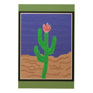 A Cactus Flower Wood Wall Decor