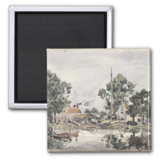A Canal in The Hague, 1868 Square Magnet