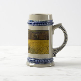 A canola field in spring beer stein
