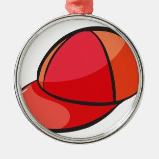 a cap Silver-Colored round decoration
