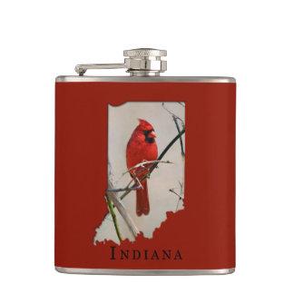 A Cardinal Inside the Shape of Indiana Hip Flask