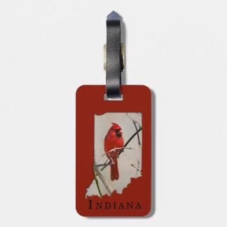 A Cardinal Inside the Shape of Indiana Luggage Tag