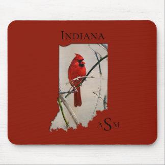 A Cardinal Inside the Shape of Indiana Mouse Pad