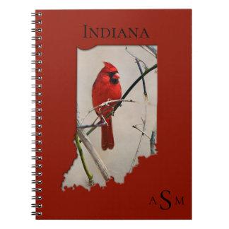 A Cardinal Inside the Shape of Indiana Notebooks