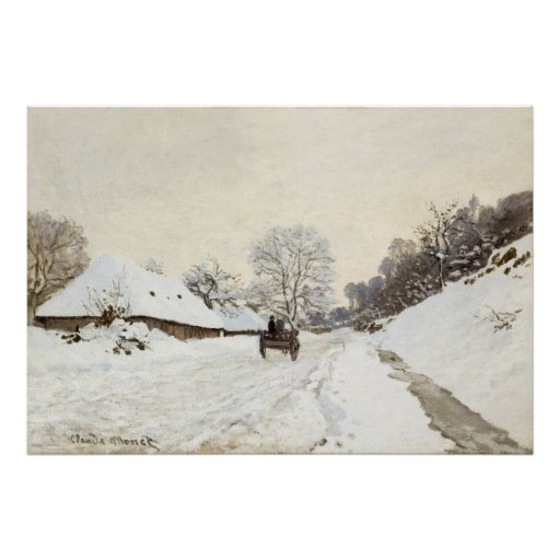 A Cart on the Snowy Road at Honfleur (1865) Canvas Print