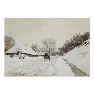 A Cart on the Snowy Road at Honfleur (1865) Print