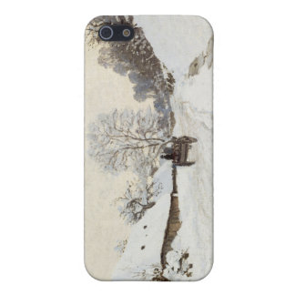 A Cart on the Snowy Road at Honfleur, Claude Monet iPhone 5 Cover