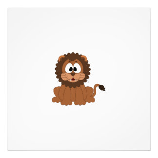 A cartoon brown smiling Drawn Lion Photographic Print