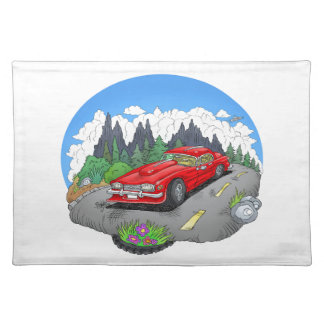 A cartoon illustration of a car. placemat