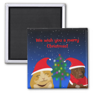 A cat and a dog, Xmas greeting with a tree Square Magnet