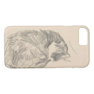 A Cat Curled Up, Sleeping by Edouard Manet. iPhone 8/7 Case