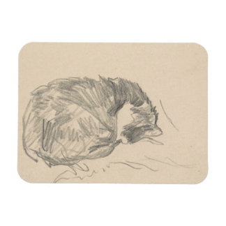 A Cat Curled Up, Sleeping by Edouard Manet. Magnet
