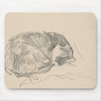 A Cat Curled Up, Sleeping by Edouard Manet. Mouse Pad
