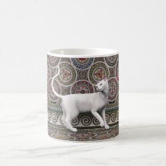 A cat on the mosaic coffee mug