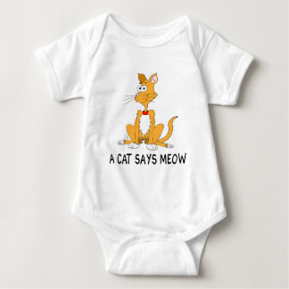 A Cat Says Meow Baby Bodysuit