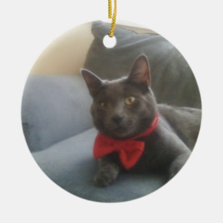 A Cat With A Bow Tie Smiling Ceramic Ornament