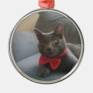 A Cat With A Bow Tie Smiling Metal Ornament
