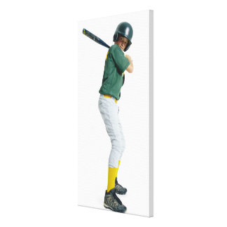 a caucasian male child dressed as a baseball stretched canvas prints