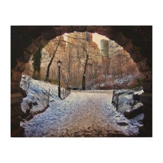 A Central Park Bridge In Winter Wood Print
