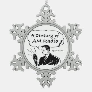 A Century of AM Radio Snowflake Pewter Christmas Ornament