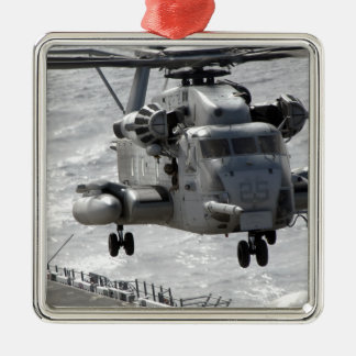 A CH-53E Super Stallion helicopter Silver-Colored Square Decoration