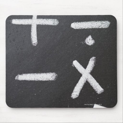 A chalkboard with mathematic symbols on it mouse pads